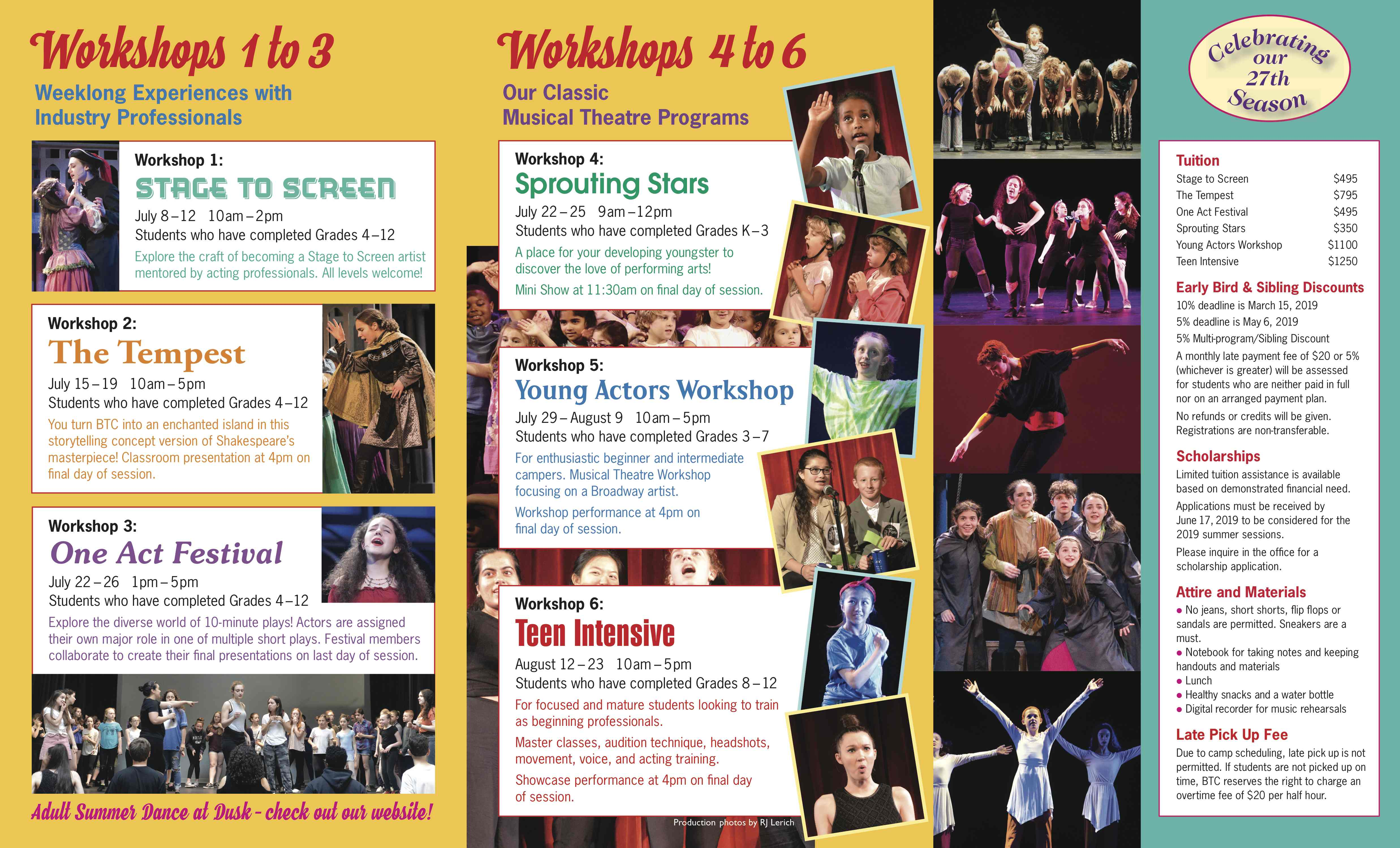 2019 Summer Workshops and Tuition