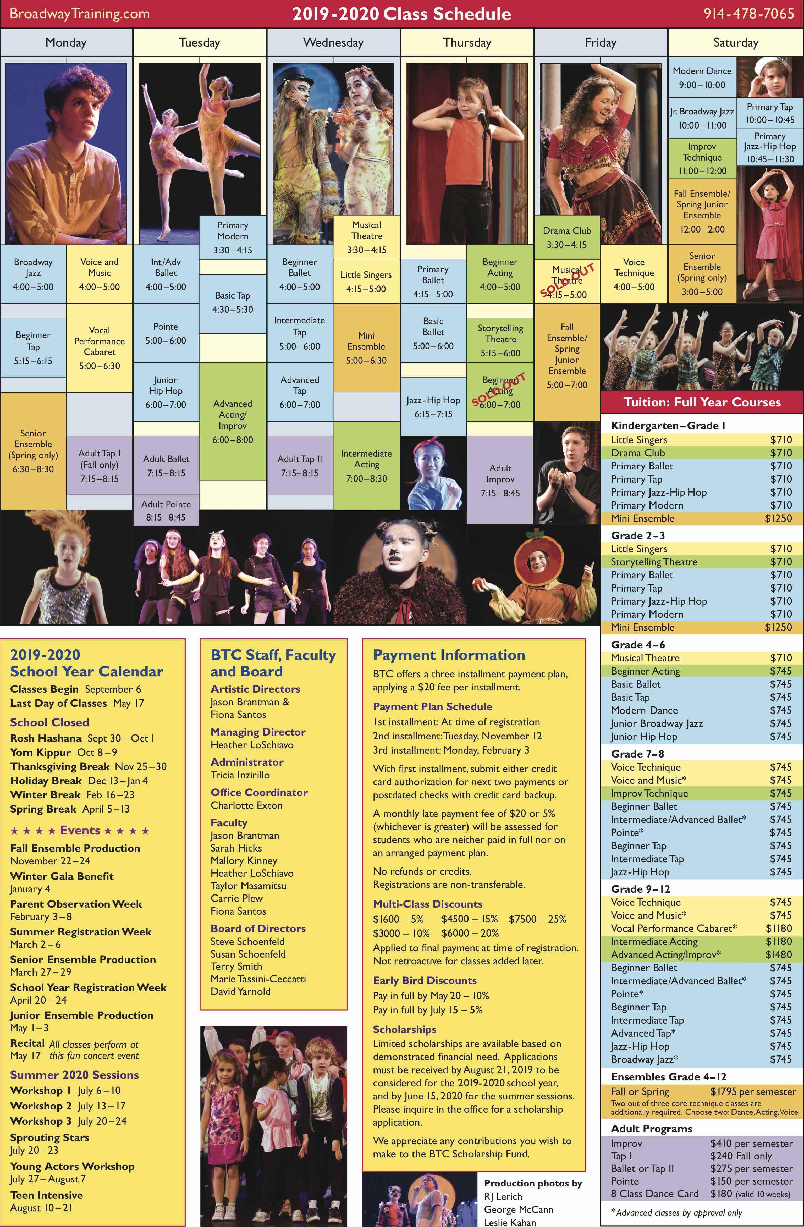Class Schedule 19-20